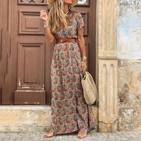 V-neck short sleeve floral print split wrap dress