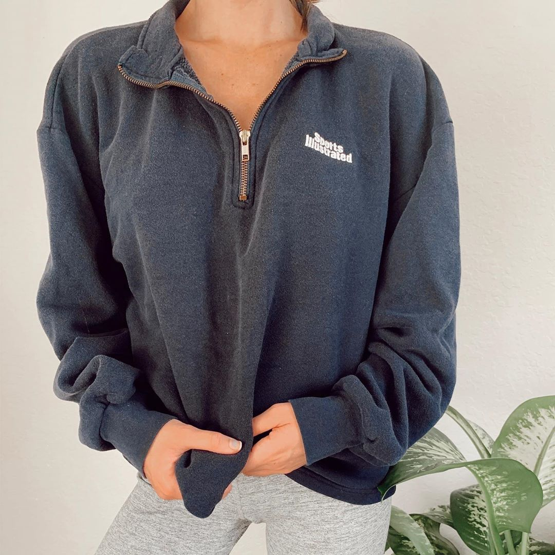 Casual Lapel Sports Illustrated Sweatshirt