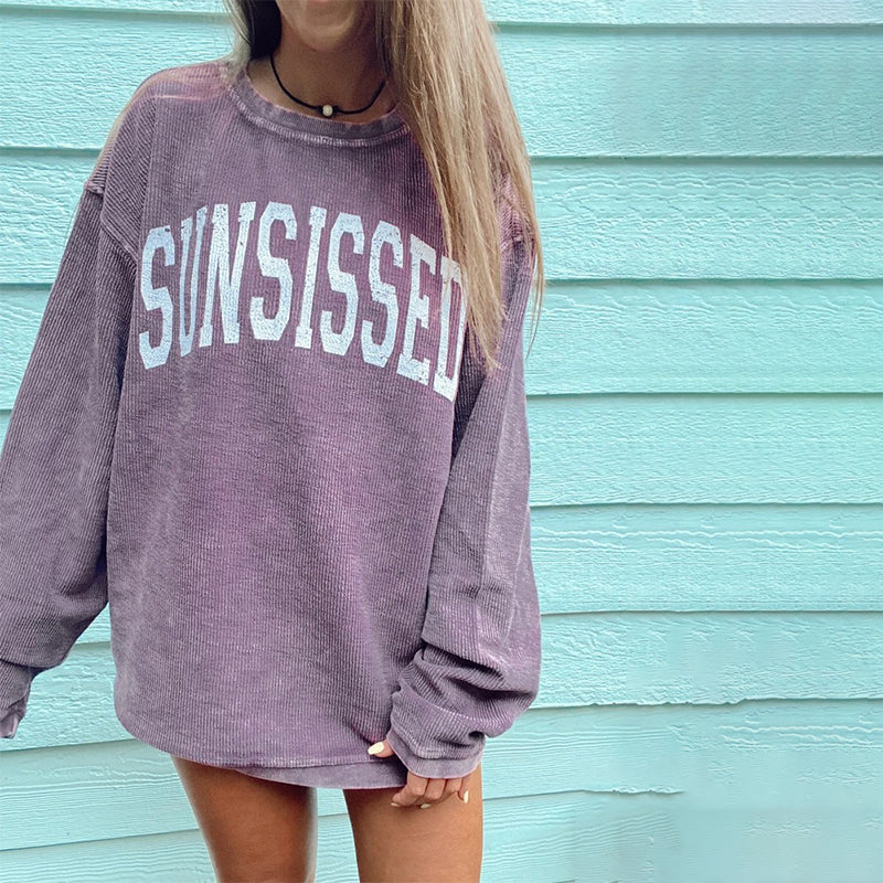Vintage Round Neck Long Sleeve Print Tee