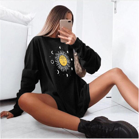 Womens Fashion Casual Loose Sweatshirt
