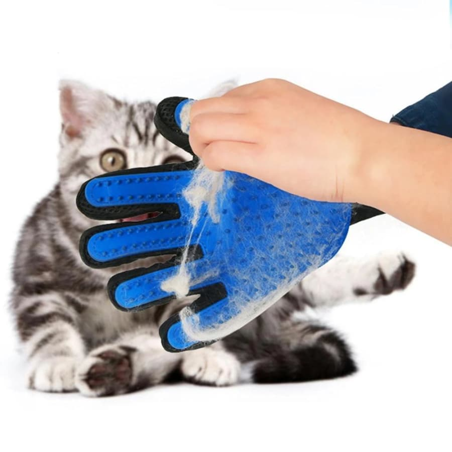 Ultimate Pet Grooming Glove - Blue / Left hand