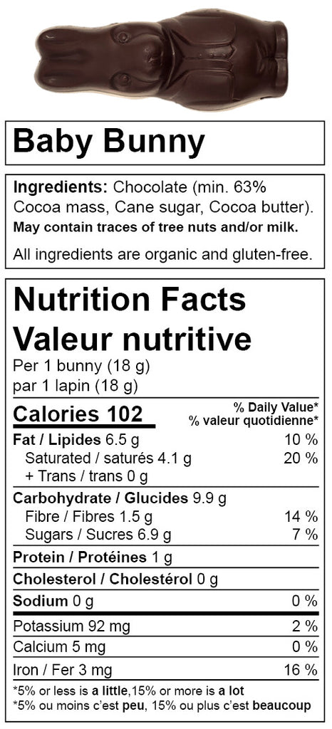 Denman Island Chocolate - nutrition facts for Baby Bunny. Canadian chocolate shop. Always organic, vegan, fair trade, and gluten-free.