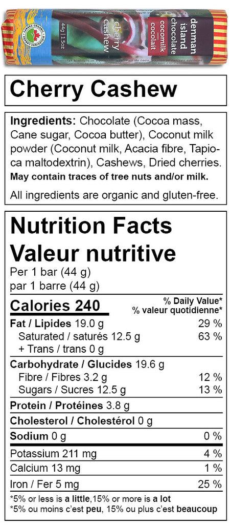 Denman Island Chocolate - nutrition facts for Cherry Cashew chocolate bar. Always organic, vegan, fair trade, and gluten-free.
