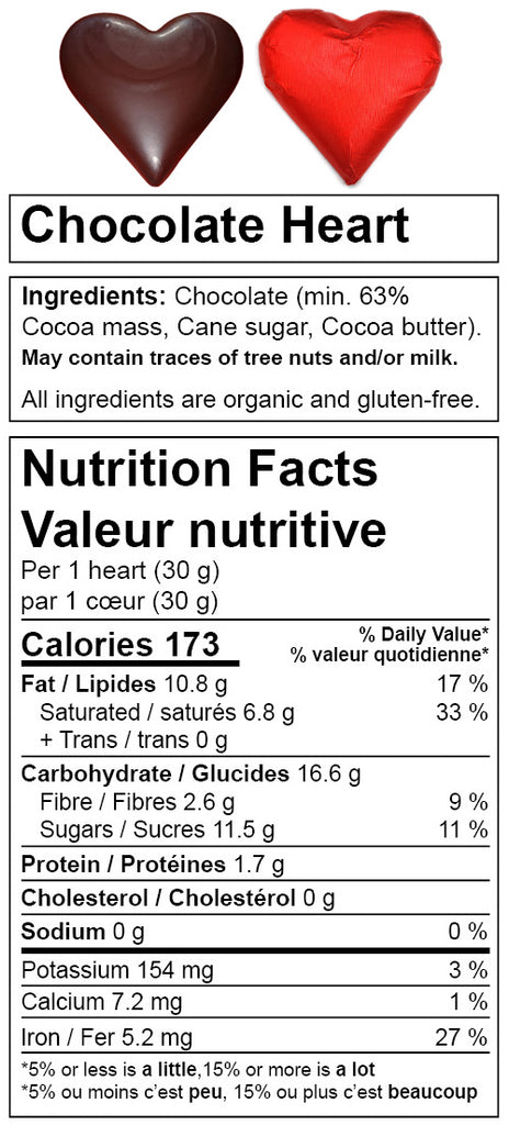 Denman Island Chocolate nutrition facts for Chocolate Heart. Canada based online chocolate shop.