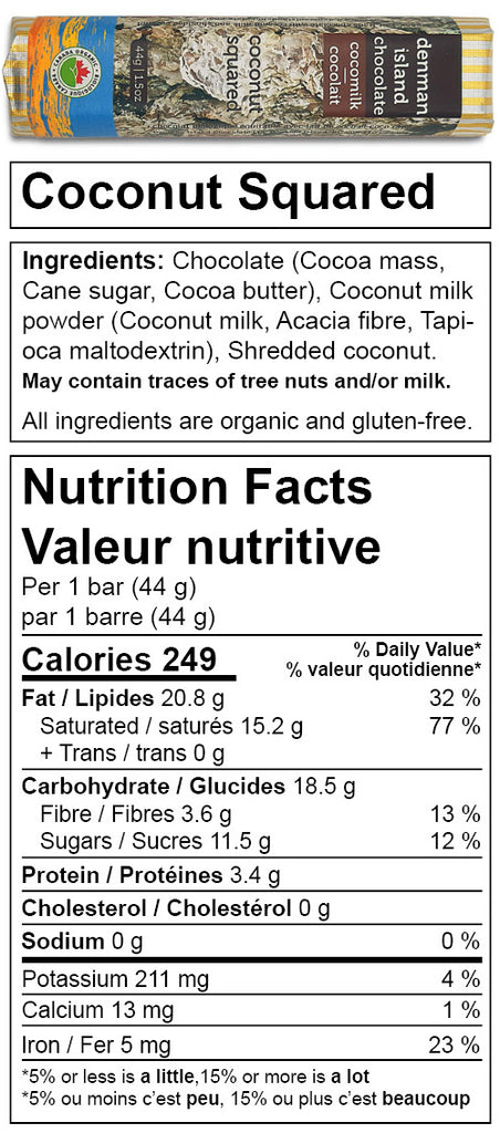 Nutrition Facts for Coconut Squared chocolate bar. Always organic, vegan, fair trade, and gluten-free.