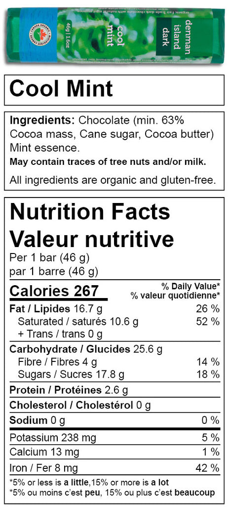 Nutrition facts for Denman Island Chocolate - Cool Mint chocolate bar.
