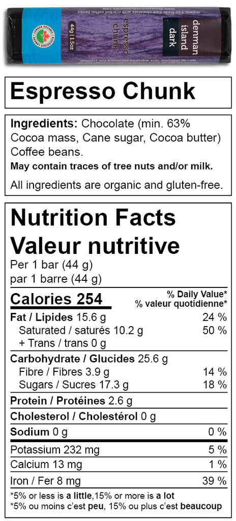 Denman Island Chocolate nutrition facts for Espresso Chunk chocolate bar.