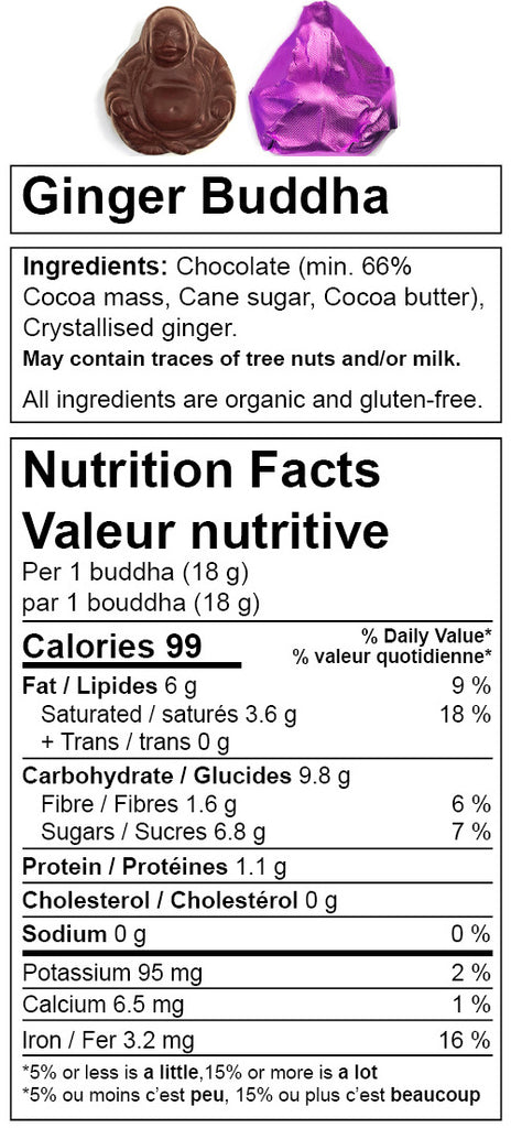 Denman Island Chocolate. Nutritional information for Ginger Buddha. Organic dark chocolate bar, vegan, fair trade, and gluten-free.