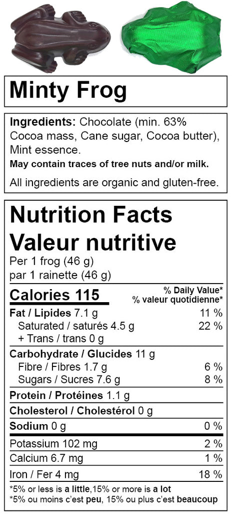 Denman Island Chocolate - nutrition facts for Minty Frog. Canada based online chocolate shop.