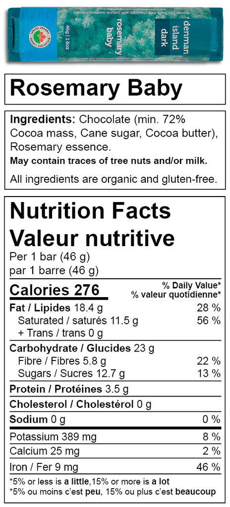 Denman Island Chocolate nutrition facts for Rosemary Baby chocolate bar.