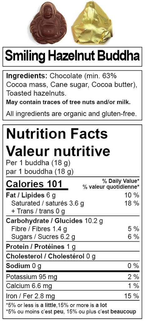 Denman Island Chocolate - nutrition facts for Smiling Hazelnut Buddha. Canada online chocolate shop.