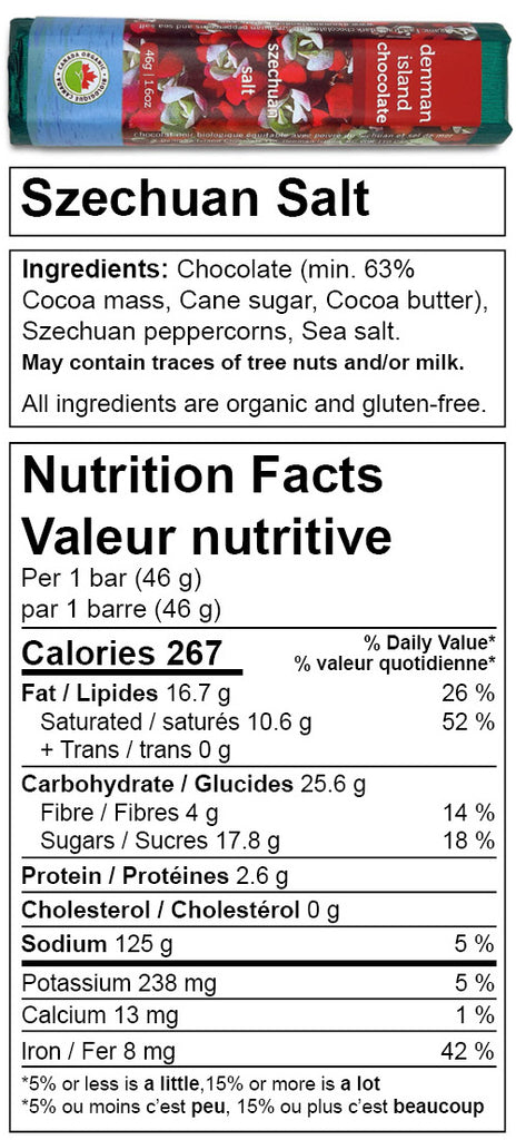 Denman Island Chocolate nutrition facts for Szechuan Salt chocolate bar. Always organic, vegan, fair trade, and gluten-free.