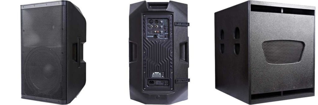 Powerworks Active DJ or PA Combo 2x Apollo 10A Speakers  Plus 1x Artemis 15SB Subwoofer