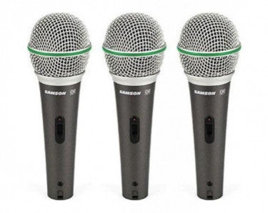 Samson SAQ6 3Pack Dynamic Super-Cardioid Handheld Mic - Set of 3 Plus MC18 - Microphone Cable 3-Pack