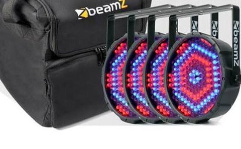 4X BeamZLED PAR 64 Flatpar 186X 10MM RGBW DMX Plus AC-125 Carry Case