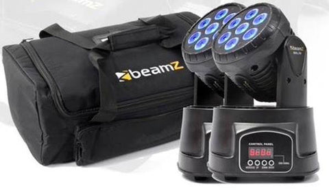 2X beamZ Mini Moving Head Wash 7x10W RGBW 13ch DMX Plus AC-135 Carry Case
