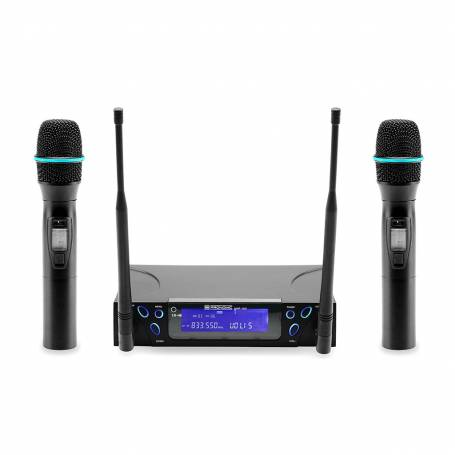DTech UHF-203 HH+HH Dual Channel Hand Held PLL Wireless System
