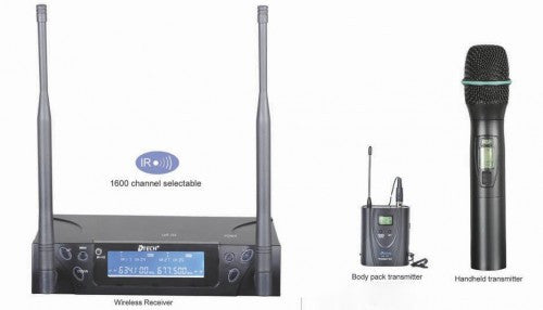 d-tech UHF-203 Handheld+Lapel+Headset Dual Channel PLL Wireless Mic System