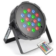 4X beamZ LED FLATPAR 18X 1W RGB LEDS DMX IRC Plus AC-410 Carry Case