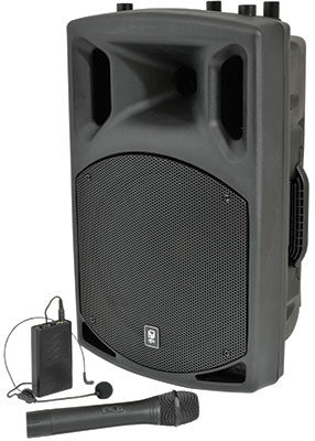 QX12AV Active speaker with VHF, 12in, 200W PA system