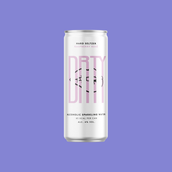 White can of DRTY rose hard seltzer water on a purple background.