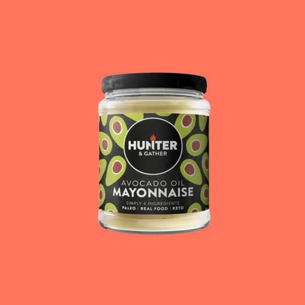 Hunter & Gather's avo oil mayonaise on a reddish orange background.