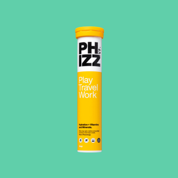Yellow packet of Phizz's hydration tablets on a turquoise background.