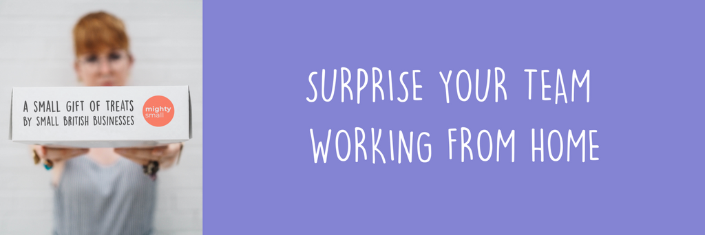 "Left of the image shows a ginger Woman holding a small gift of treats, the right of the image is a purple block with overlaying text which says ""Surprise your team working from home""."