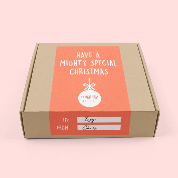 Mighty Small's christmas packaging on a pink background. The box is cardboard and has a coral label on it.