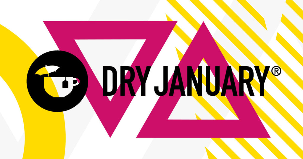 Dry January Campaign imagery. Black text 'Dry January' sits on a patterned background including two pink triangles, a yellow circle and stripes. There is a black Dry January logo too.