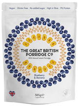Load image into Gallery viewer, The Great British Porridge Co, Blueberry & Banana Porridge, 385g