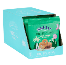 Load image into Gallery viewer, Indie Bay Snacks Pretzel Thins, Sour Cream + Onion, 24g - Box of 10 - Mighty Small