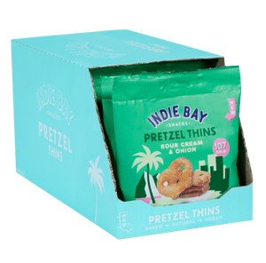 Indie Bay Snacks Pretzel Thins, Sour Cream + Onion, 24g - Box of 10 - Mighty Small