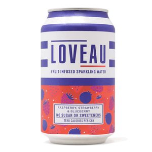 LOVEAU Raspberry, Blueberry + Strawberry Infused Sparkling Water, 330ml - - Mighty Small