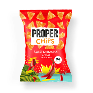 PROPER PROPERCHIPS Sweet Sriracha Chilli Sharing Lentil Chips, 85g - Single - Mighty Small