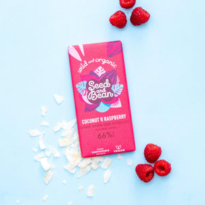 Seed and Bean Coconut + Raspberry Dark Chocolate Bar, 85g - - Mighty Small