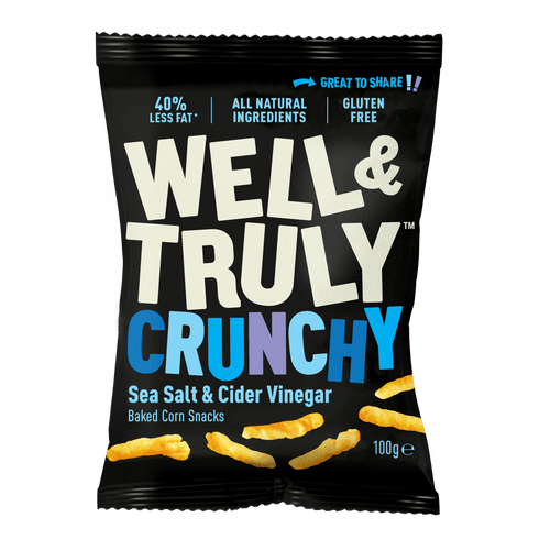 Well&Truly Sea Salt + Cider Vinegar Crunchy Corn Snacks, 100g - - Mighty Small