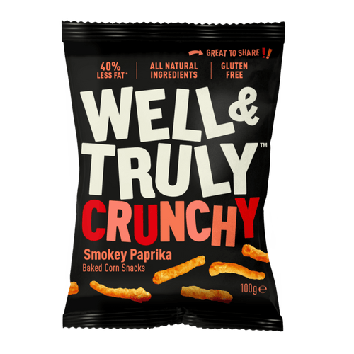Well&Truly Smokey Paprika Crunchy Corn Snacks, 100g - - Mighty Small