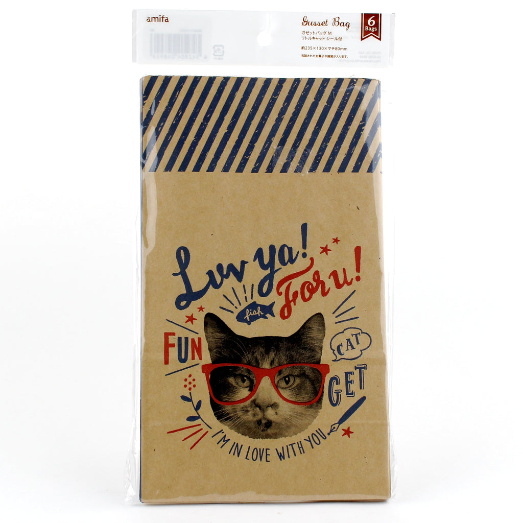 Paper Bags (w/Stickers/Cats*2-Types/RD*BL/23.5�E¿½E¿½~13�E¿½E¿½~8cm (6pcs))