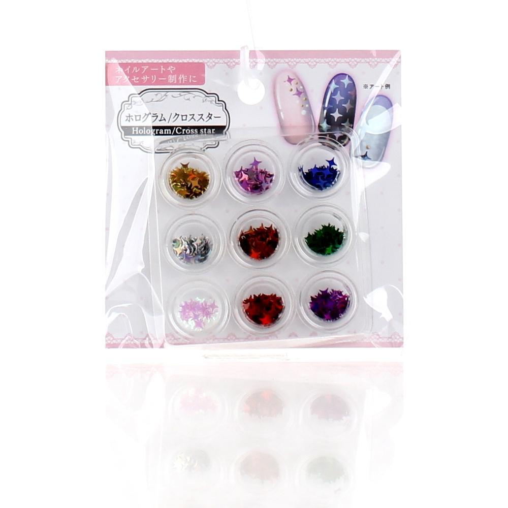 Nail Sequins (Polyvinyl Chloride/Four-Pointed Star/Holographic/9 Colours/9pcs)