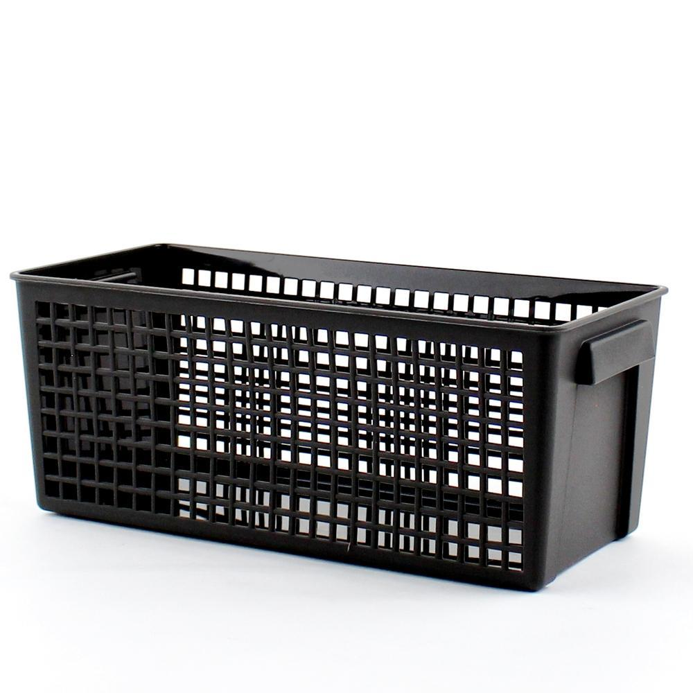 Basket (PP/w/Handles/Rectangle/BK/13x~28.7x~11.5cm)