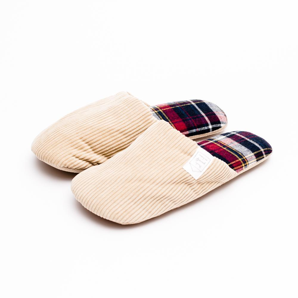 Slippers (Corduroy/Check/BE/RD)