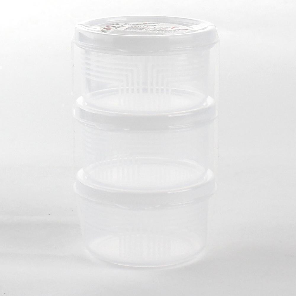 Plastic Food Container (Microwavable/Round/CL/8.4x?4.5cm / 180mL (3pcs))