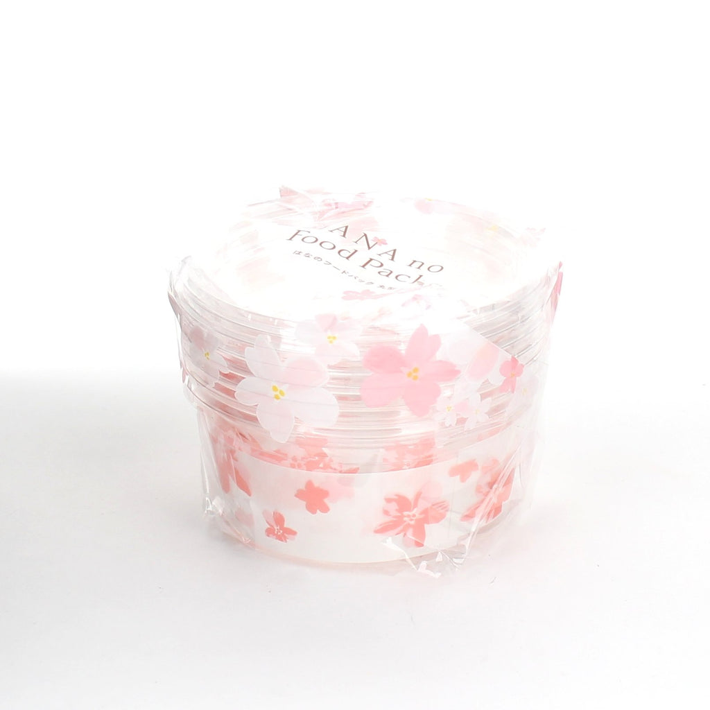 Disposable Plastic Food Containers (PET/Cherry Blossom/Round/M (4pcs))