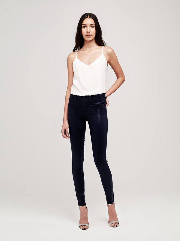 Marguerite Navy Coated High-Rise Skinny Jean