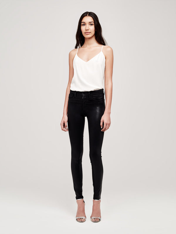 Marguerite Noir Contrast Coated High-Rise Skinny Jean