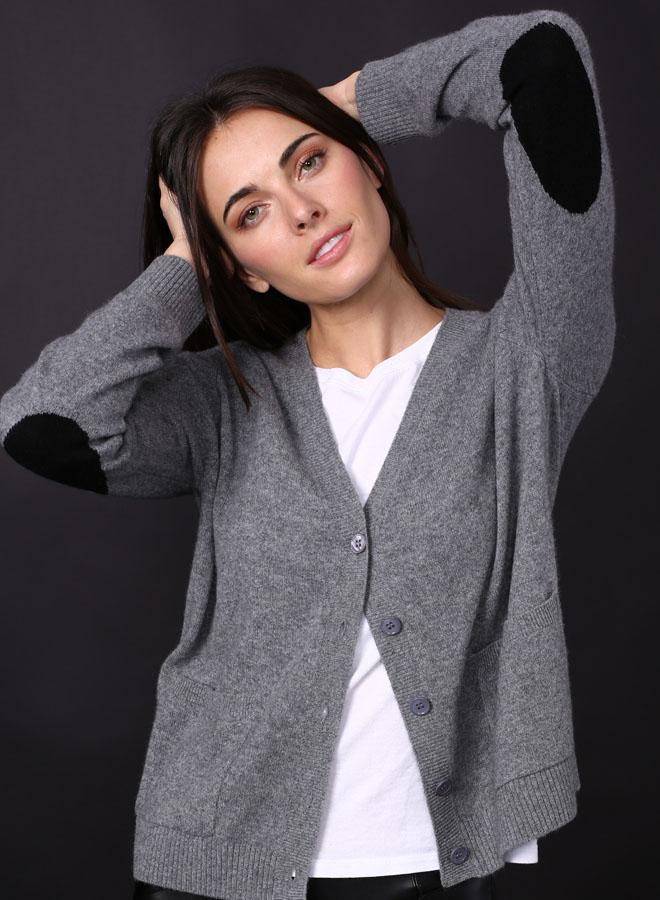 Contrast Cardigan Elbow Patch