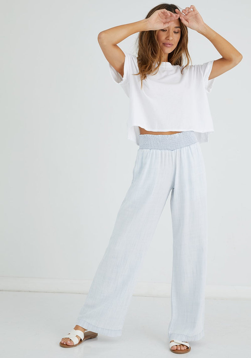 Smocked Waist White Wide Leg Pant