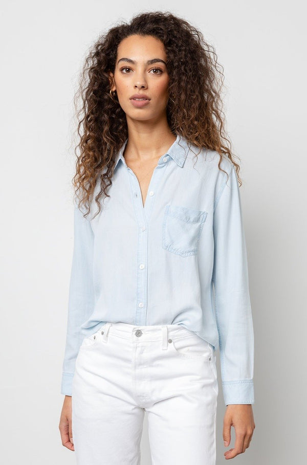 Ingrid Raw Denim Button-Down Top