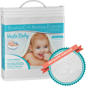 Jacquard Bamboo Crib Mattress Protector 52x28 in